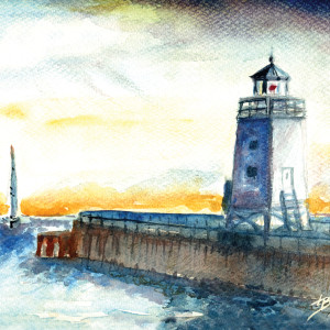 Classic Charlevoix Lighthouse - Sunset