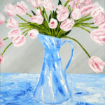 Pink Tulips in a Blue Vase