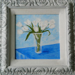 A Vase of White French Tulips Framed