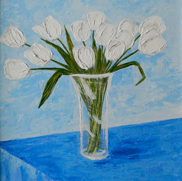 A Vase Of White French Tulips Original Painting Linda Boss Fine