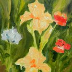 Apricot Iris Plein Air Painting by Linda Boss