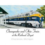 C&O Train at the Charlevoix Depot Note Cards by Linda Boss