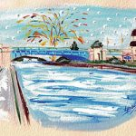 Charlevoix Bridge Drop 2016 Original Painting Study by Linda Boss