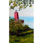 Charlevoix Lighthouse North Bluff Magnet by Linda Boss