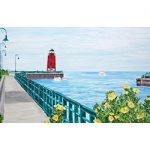 Charlevoix Lighthouse from Hoffman Park Magnet by Linda Boss