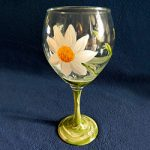 Daisy - Hand Painted Wine Glass by Linda Boss