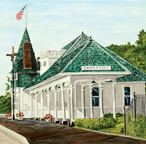 Charlevoix's Historic Railroad Depot Magnet by Linda Boss