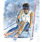 Downhill Racer Watercolor by Linda Boss
