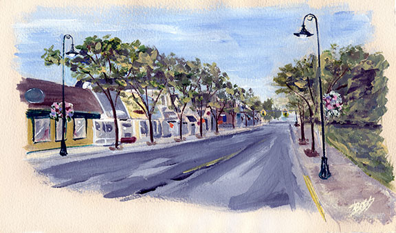 Downtown Charlevoix Original Painting Sketch by Linda Boss