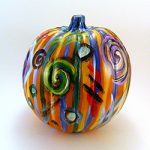 Jewel Abstract on Orange Pumpkin by Linda Boss Fine Art