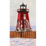 Wooden Charlevoix Lighthouse Magnet by Linda Boss