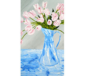 Pink Tulips in a Blue Pitcher