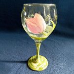 Pink Tulip Glass - Painted Base by Linda Boss