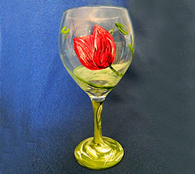 It's a Tulip Party! Red Tulip Wine Glass