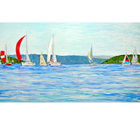 Wednesday Night Races on Lake Charlevoix Magnet by Linda Boss